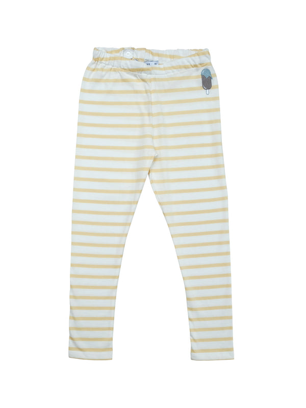 Soft striped leggings with adjustable waist for best fit and with a small icecream embroidery at front.. Size up for a baggy fit and longer wear. Made in Portugal with organic jersey material.