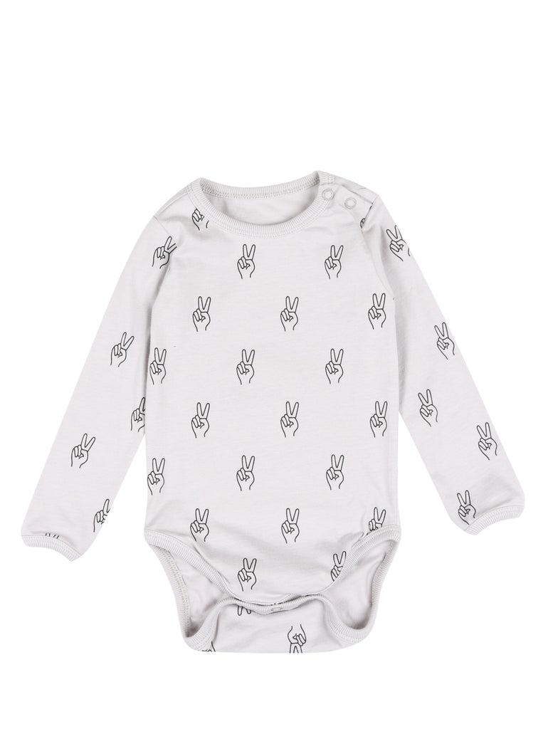 BABY BODY LS PEACE Vapour Grey