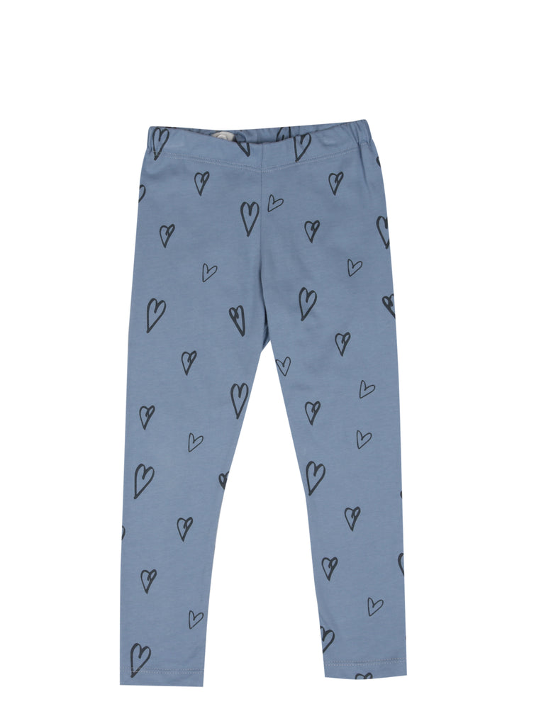 LEGGINGS HEARTS AOP Faded Denim