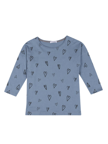POP LS HEARTS AOP Faded Denim
