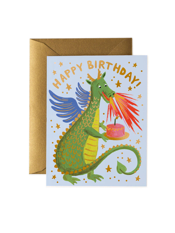 Colourful kids Birthday Card with a dragon holding a cake and Happy Birthday in gold letters