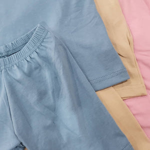 Mumma Denim Blue Cycling Shorts & Tee Set