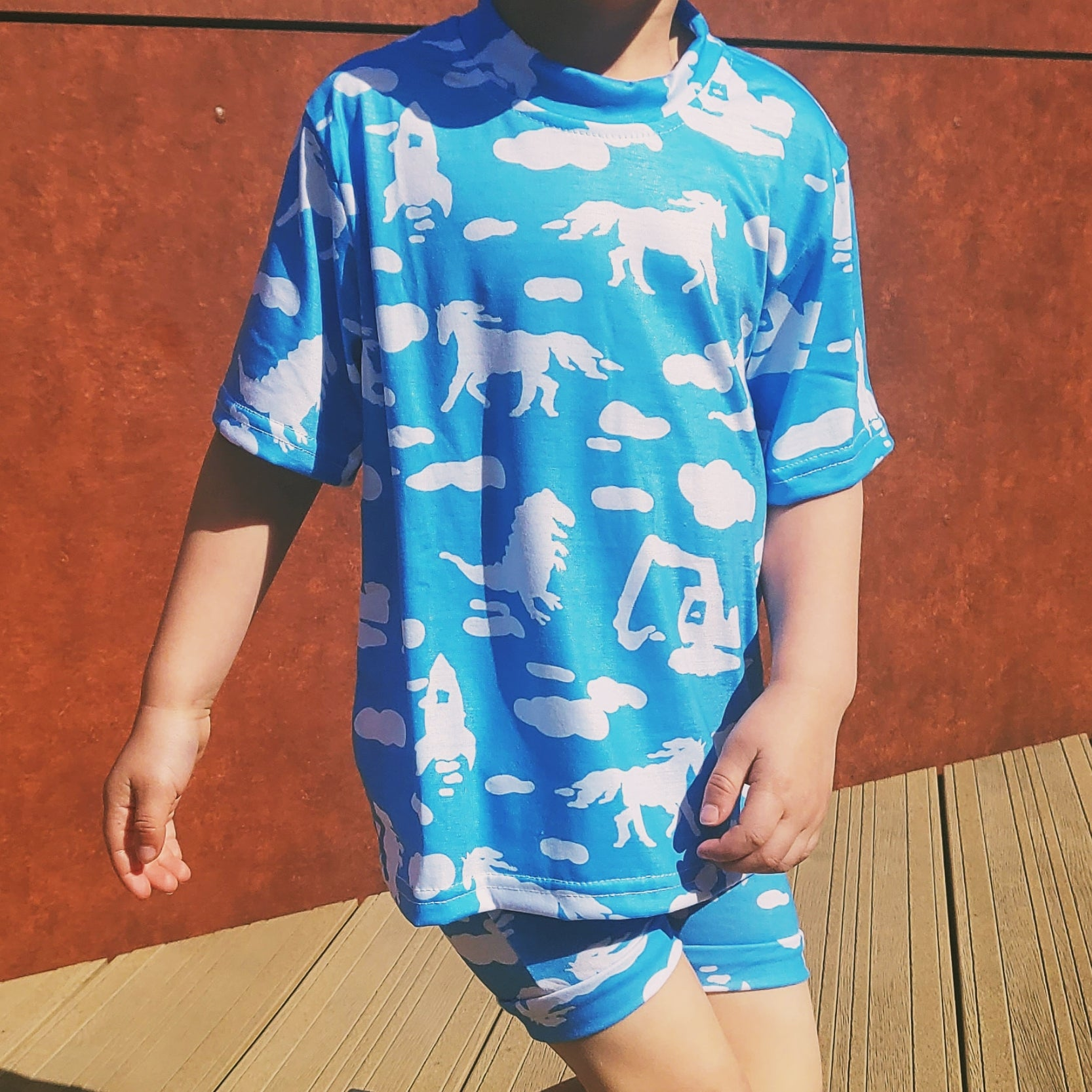 Cloud Spotting Printed Short and T-Shirt Set