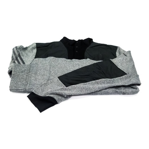 Adidas Three Button Pullover - Grey & Black (Mens)