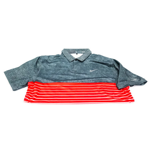 Nike Tiger Woods Collection - Bold Stripe Polo (Grey & Red)