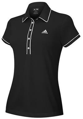Women's Adidas  Contrast Piping Polo - Black