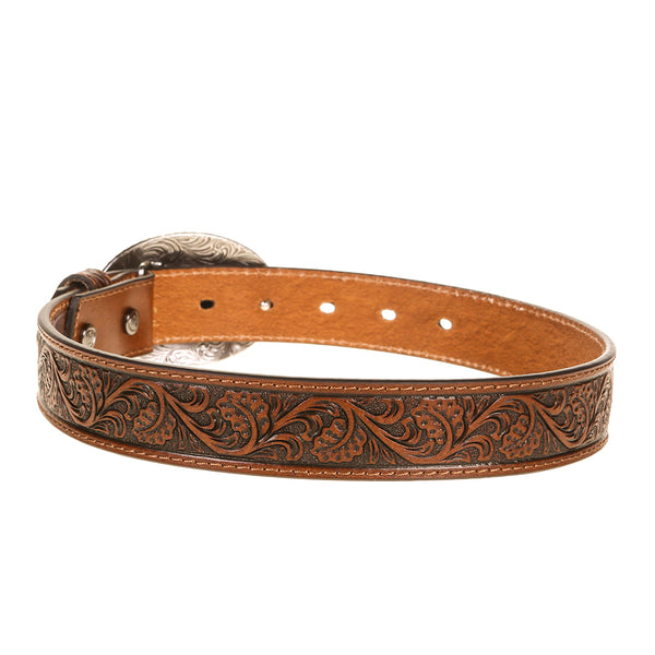 Ariat | Tan Floral Design Leather Belt