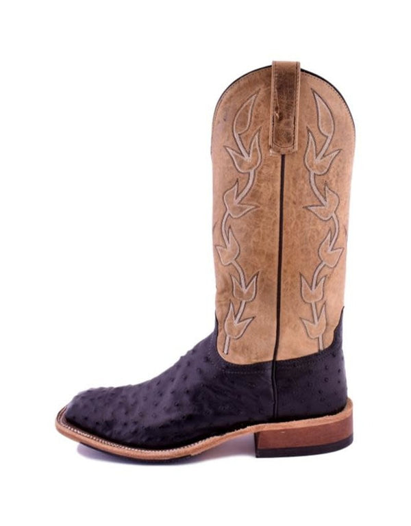Anderson Bean | Black Full Quill/Bone Ostrich Boot