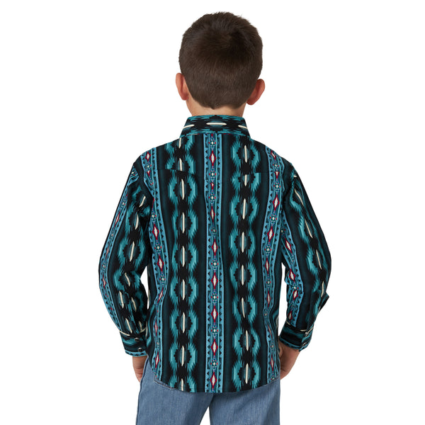 Wrangler | Boys Black Multi Checotah LS Shirt