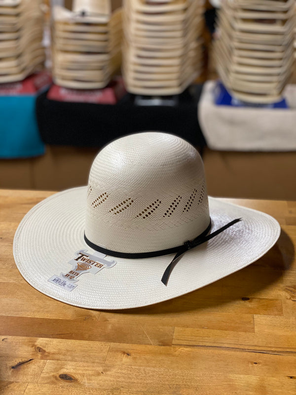 "Twister | Open Crown 4 1/4"" Diagnal-Vent Shantung Straw Hat"