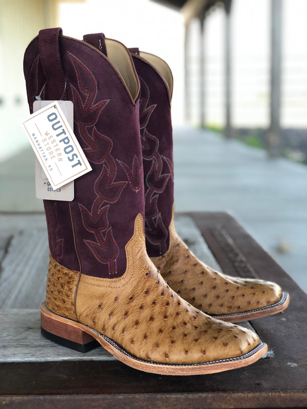 Anderson Bean | Umber Bruciato Full Quill Ostrich Boot
