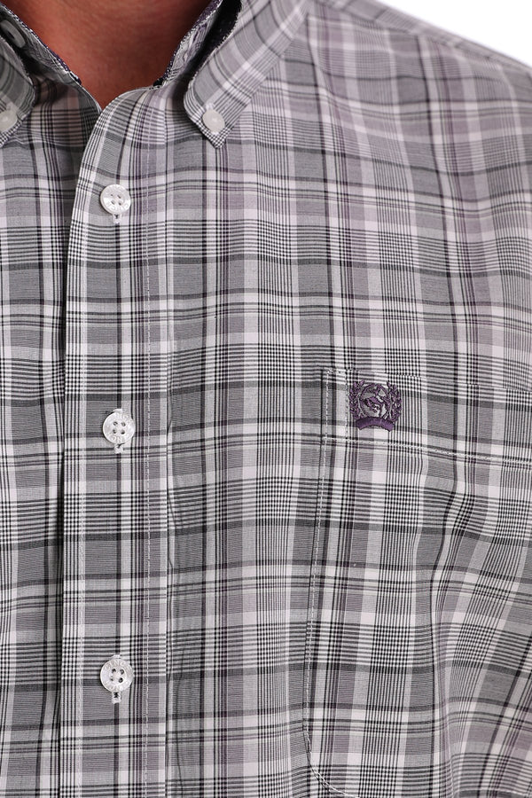 Cinch | Short Sleeve White/Multi Button Down Shirt