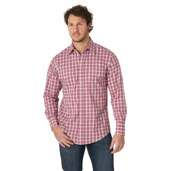 Wrangler | Wrinkle Resist Red Plaid LS Western Snap Shirt