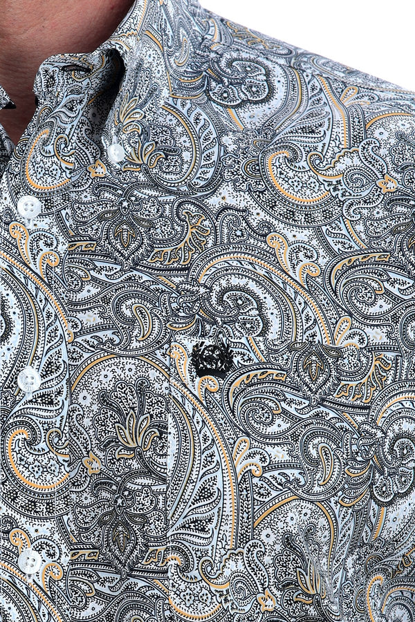 Cinch | Men's White, Black, Blue, and Gold Floral Paisley Print LS Button-Down Shirt