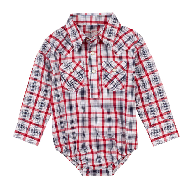 Copy of Wrangler | Red/White/Blue Plaid LS Onesie