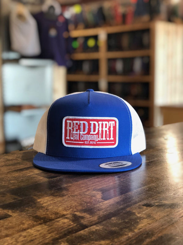Red Dirt Hat Co. Tag Patch Trucker Cap Royal/White