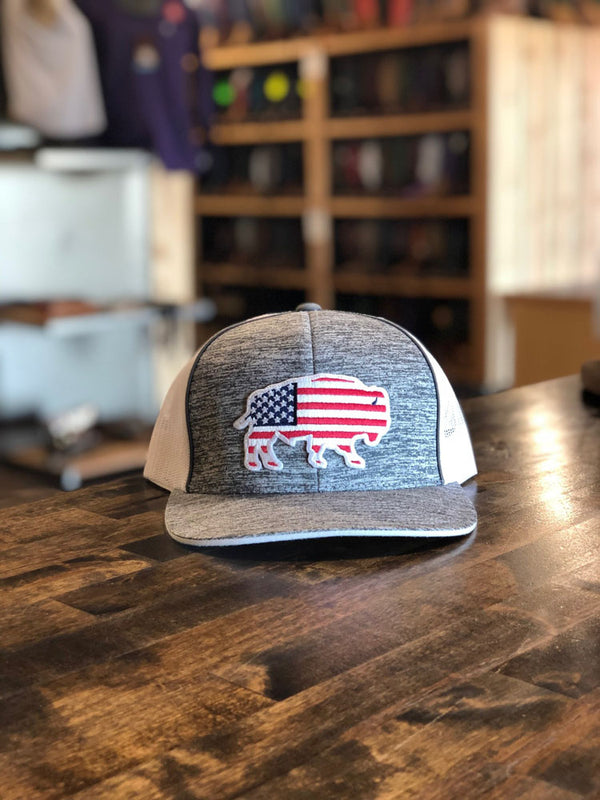 Red Dirt Hat Co. USA Buffalo Cap Grey/White OS