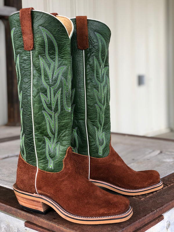 Olathe Boot Co. | Brown Mule Roughout/Jade Navajo Boot