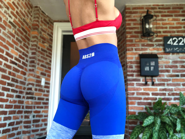 Electric Blue Seamless PRO High Knee Booty Plumper - ABS2B FITNESS APPAREL