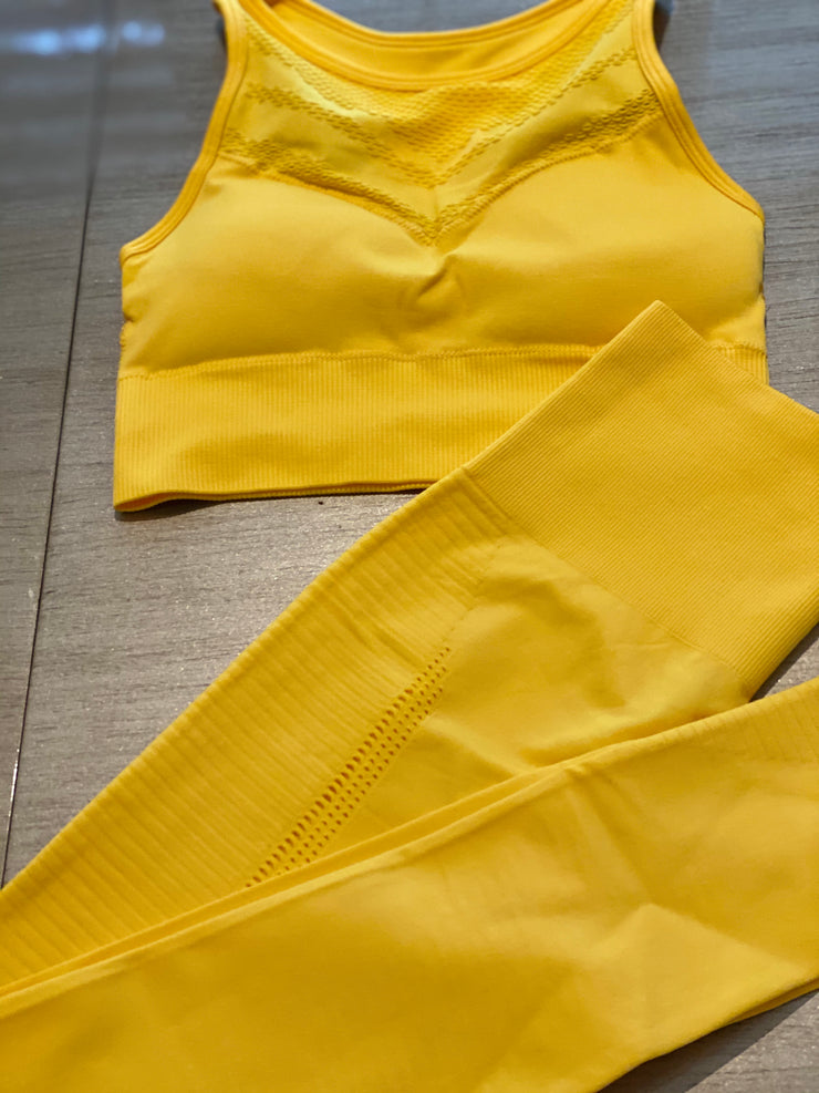Summer ultra compressive laser cut set Bright Yellow - ABS2B FITNESS APPAREL