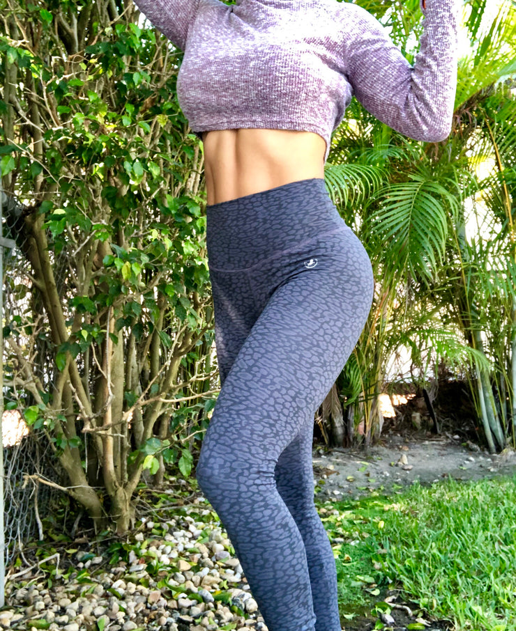 Textured Cheetah in Carbon Gray - ABS2B FITNESS APPAREL