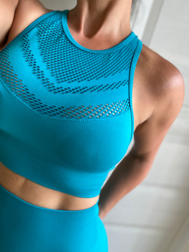Summer ultra compressive laser cut set Turquoise - ABS2B FITNESS APPAREL