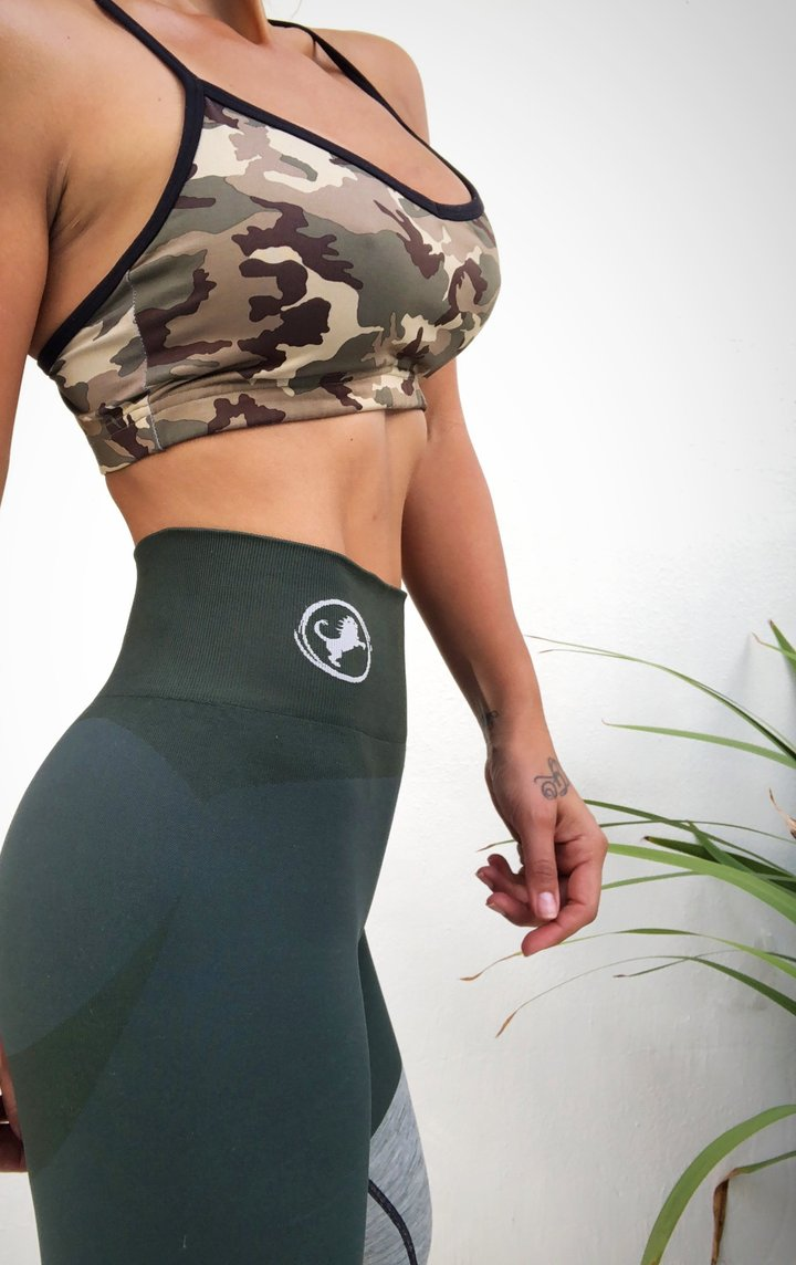 Army Green Seamless PRO High Knee Booty Plumper - ABS2B FITNESS APPAREL