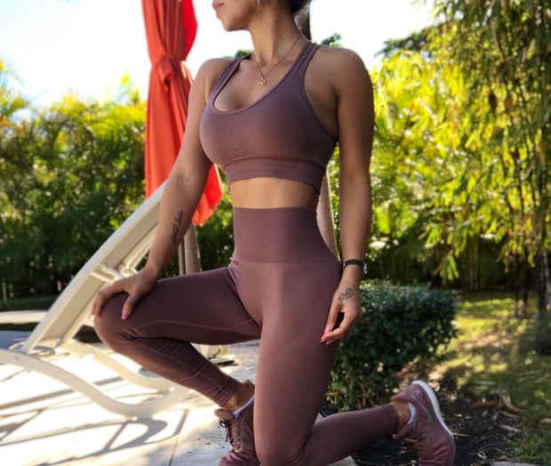Truffle Mauve Seamless Set - ABS2B FITNESS APPAREL