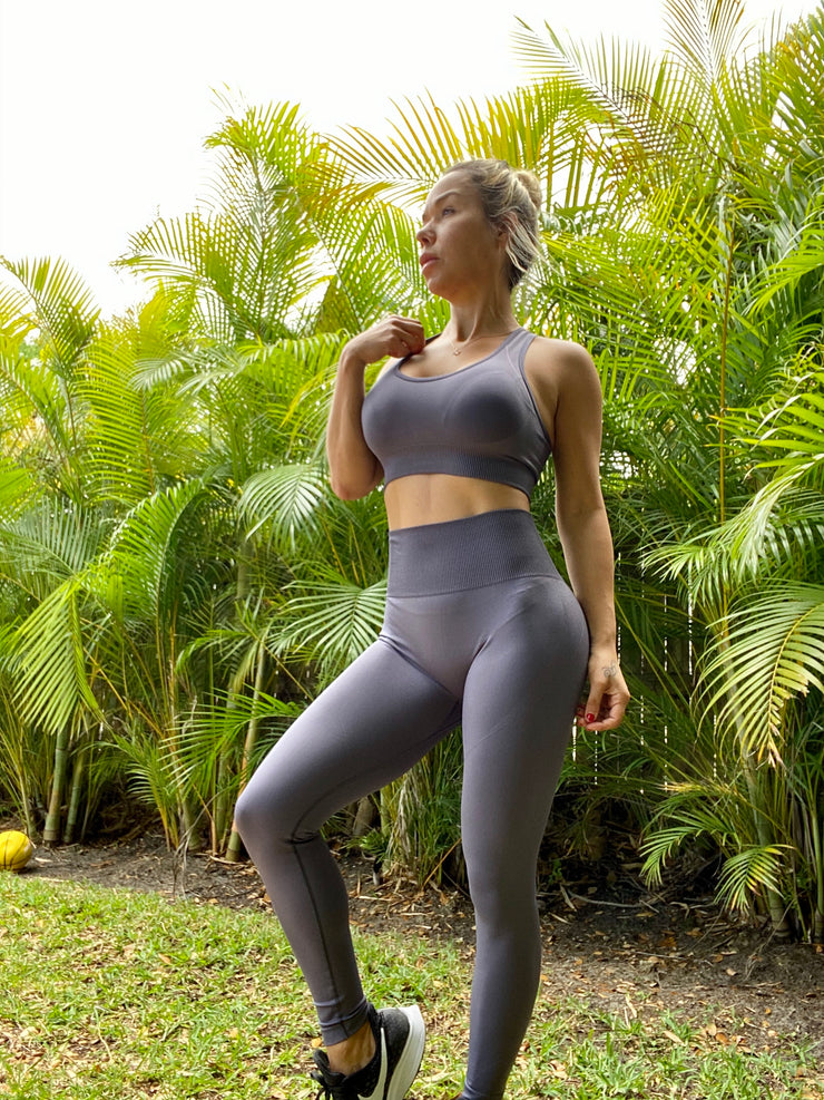 Shark Gray Compression Seamless Set - ABS2B FITNESS APPAREL