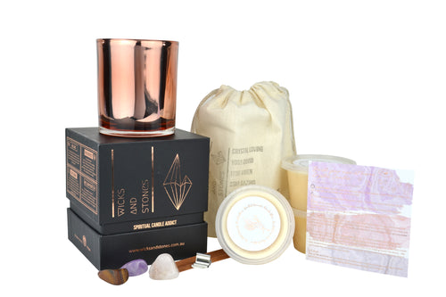 Build Your Own Crystal Candle- Sea Salt Caramels + Vanilla Bean