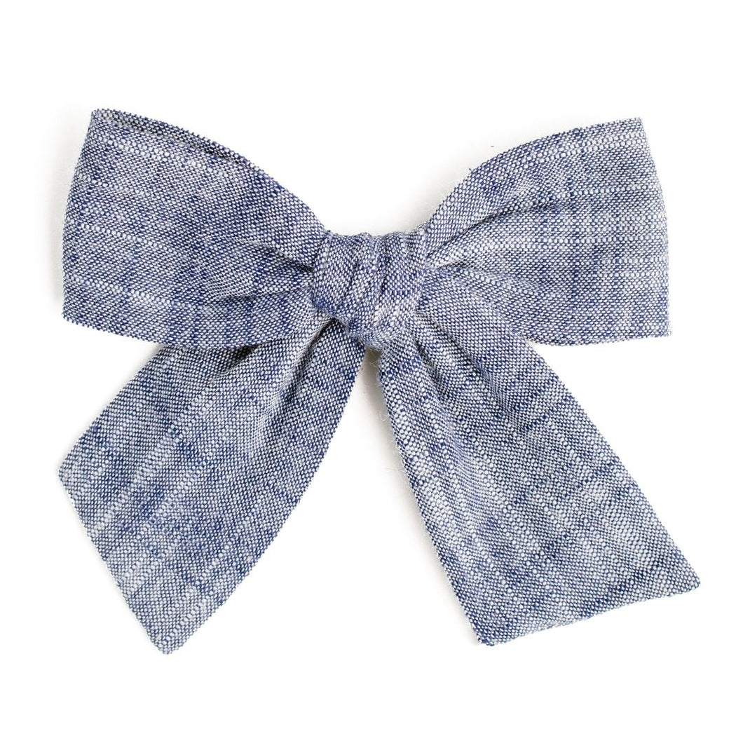 Fresh in Bloom Denim Yarn Dyed | Spring Hair Bow