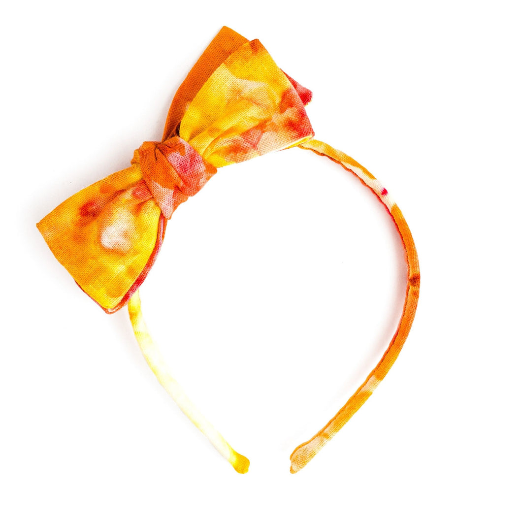 Orange Creamsicle Ice Dye Linen Headband | Spring Headbands