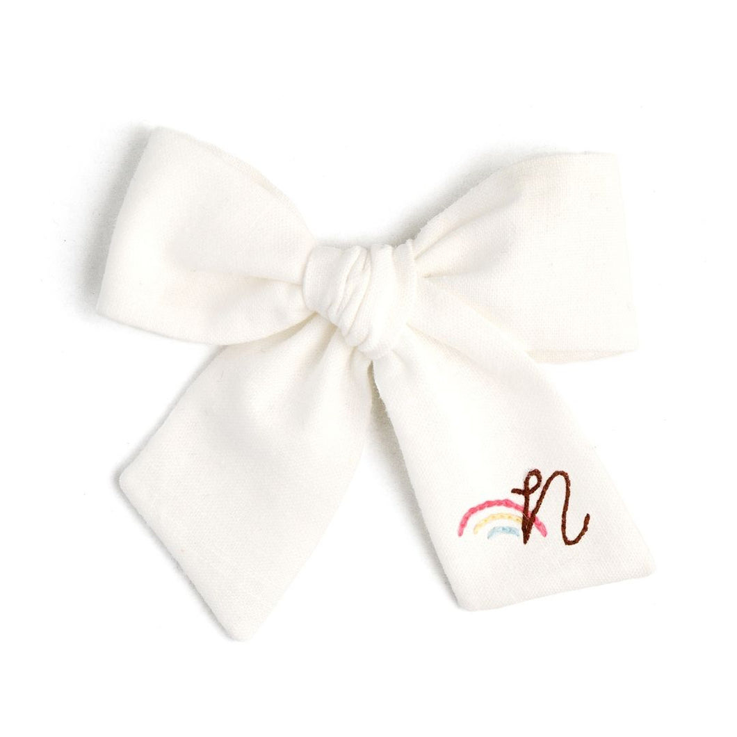 Over The Rainbow | Embroidered White Linen | Spring Hair Bow