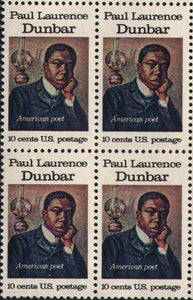 Paul Laurence Dunbar Block of 4 Postage Stamps, 1554