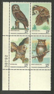 US 1760-63 Plate Block Owls