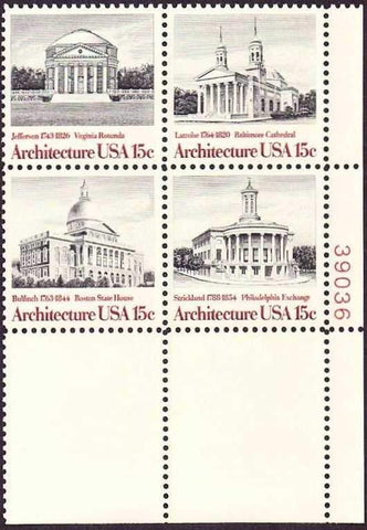 US 1779-82 Plate Block Architecture