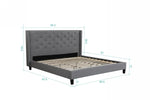 Megan Platform Bed - Gray