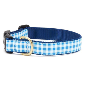 Blue Gingham Dog Collar