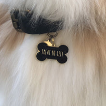Load image into Gallery viewer, Pet ID Tag - Treat Yo Self - Black
