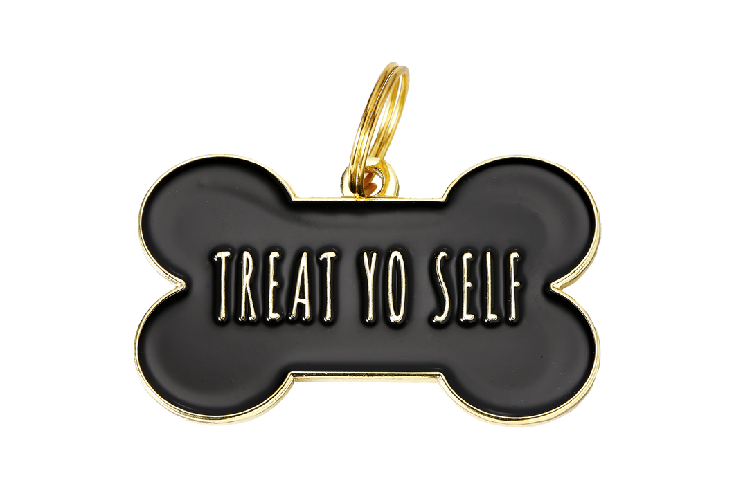 Pet ID Tag - Treat Yo Self - Black