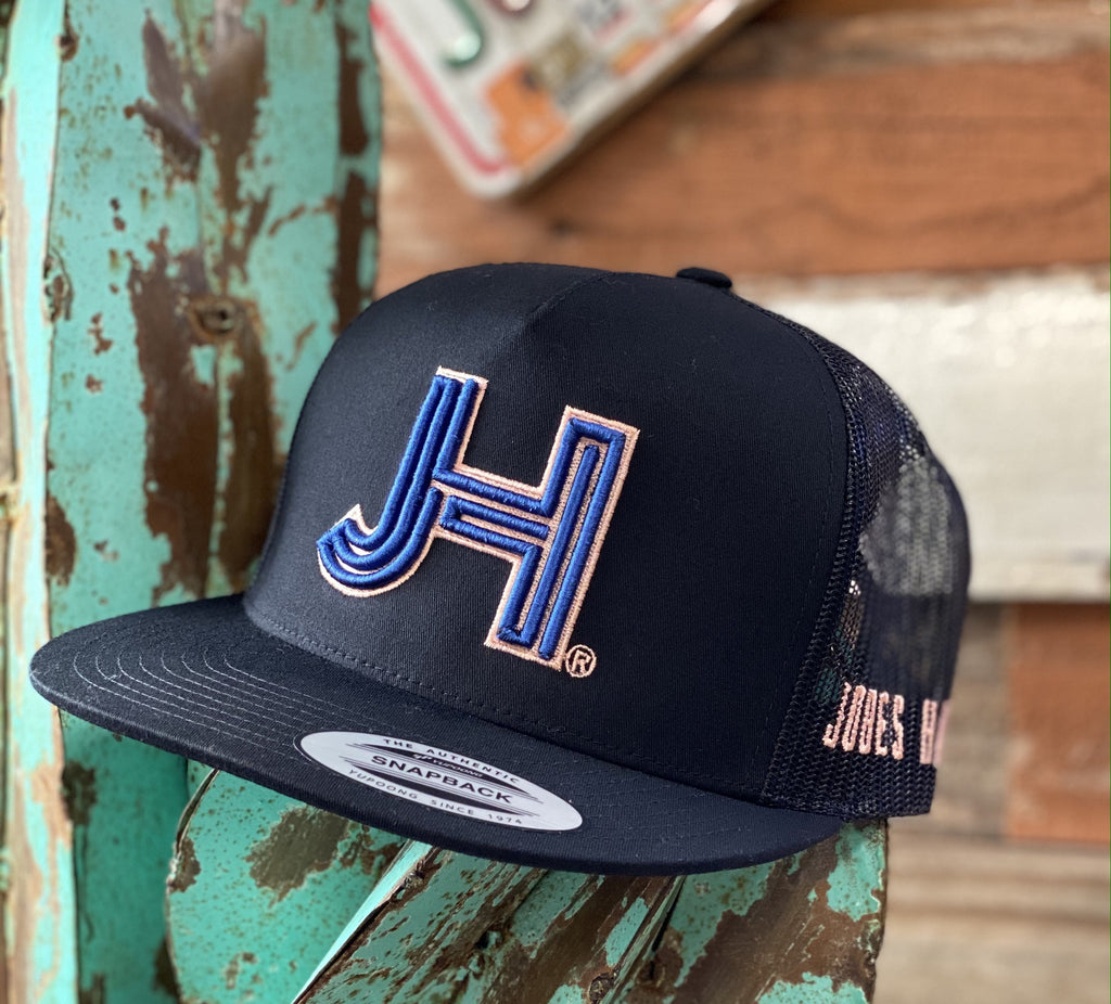 2020 Jobes Hats Trucker - All Black Royal Blue 3D Peach Outline (Limited Edition) - Jobes Hats