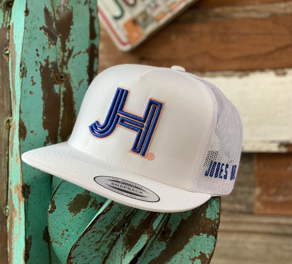 2020 Jobes Hats Trucker - All White Royal Blue 3D Peach Outline (Limited Edition) - Jobes Hats