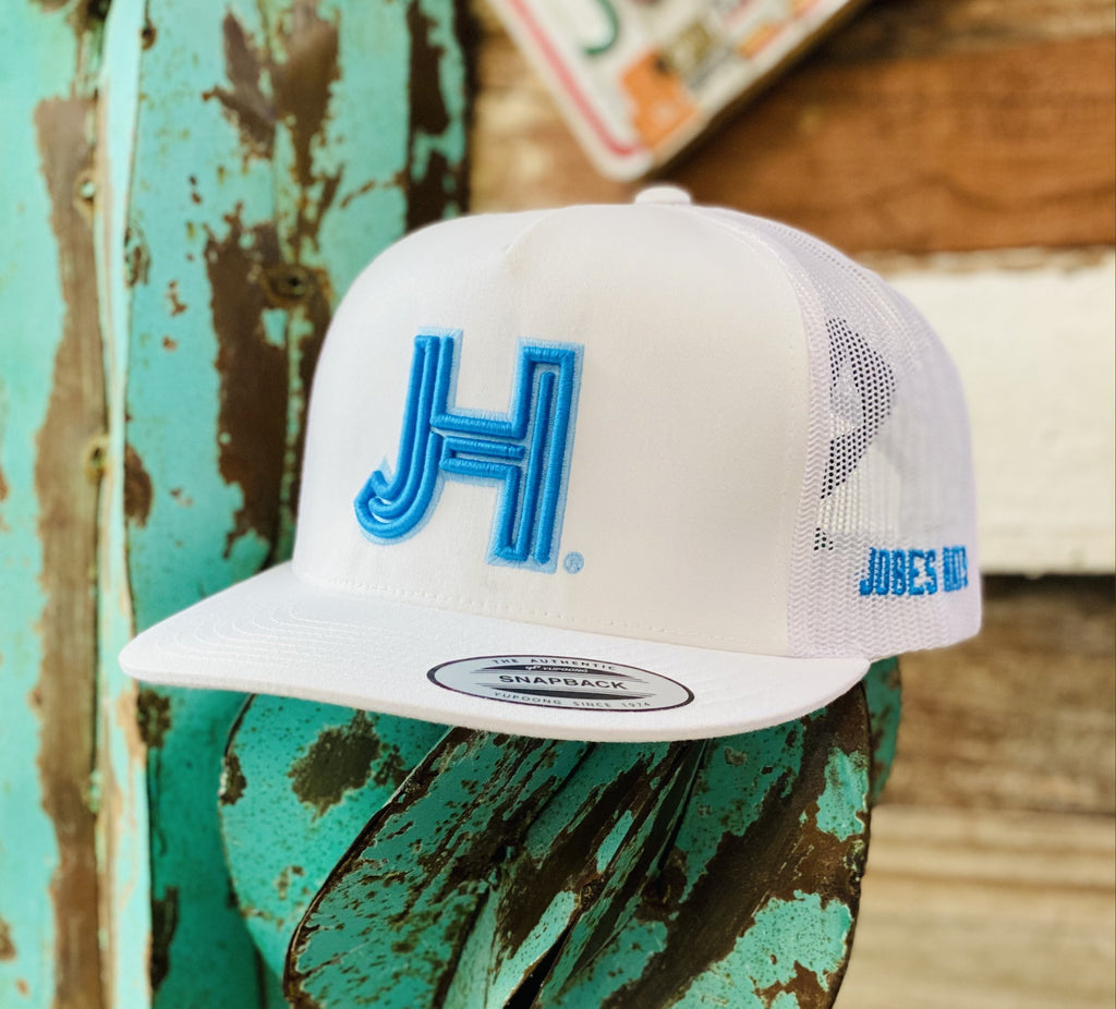 2020 Jobes Hats Trucker - All White Turquoise JH with Baby Blue Outline (Limited Edition) - Jobes Hats