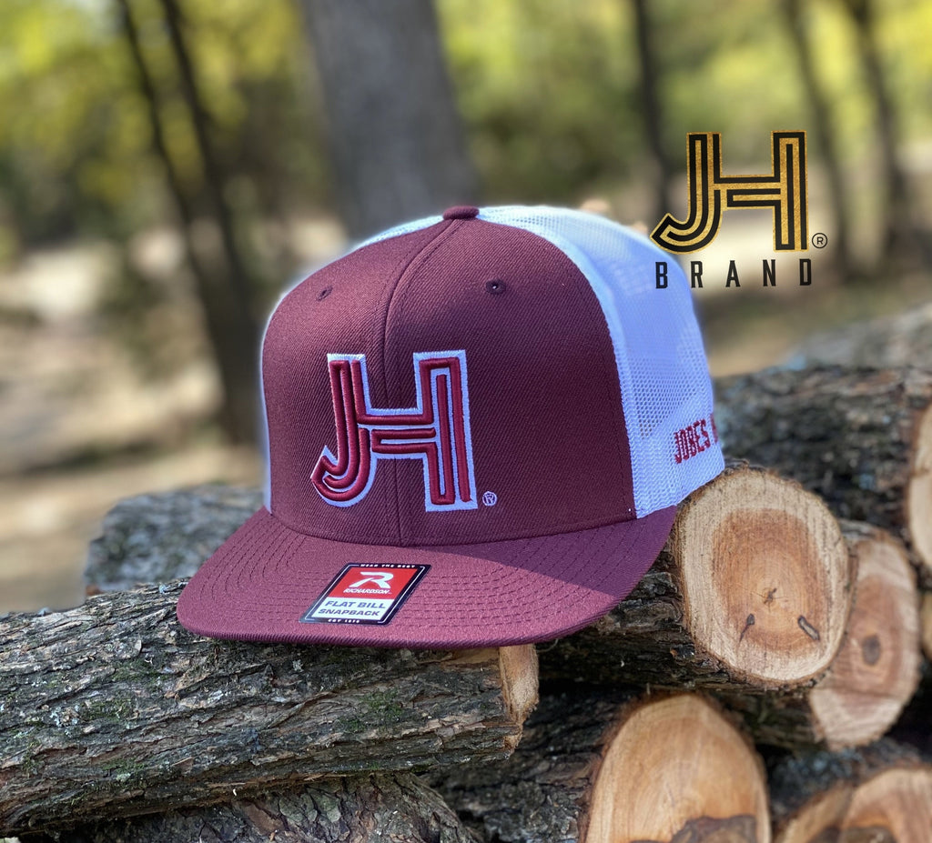2020 Jobes Hats Trucker - Maroon/White Mesh 3D JH Maroon - white outline - Jobes Hats