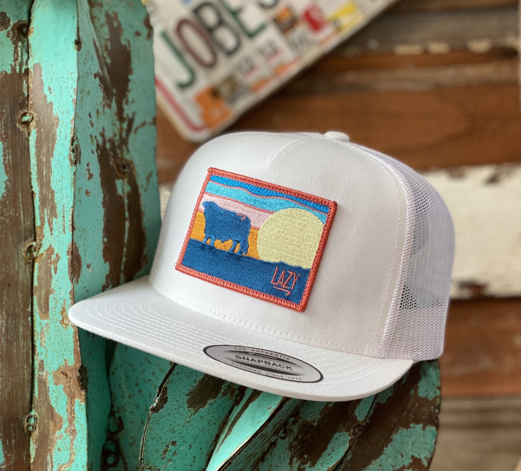 2020 Lazy J cap - All White Hereford Sky Patch - Jobes Hats