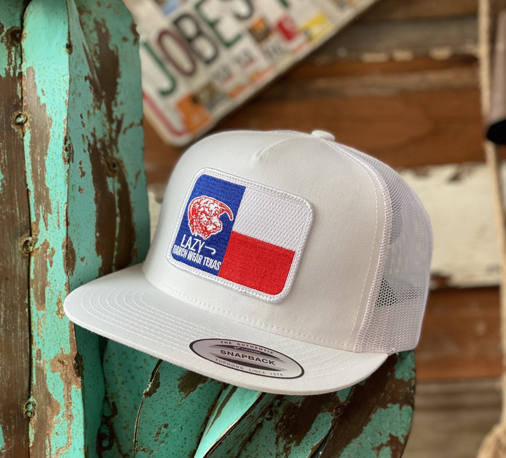 2020 Lazy J cap - All White Texas Flag Elevation - Jobes Hats