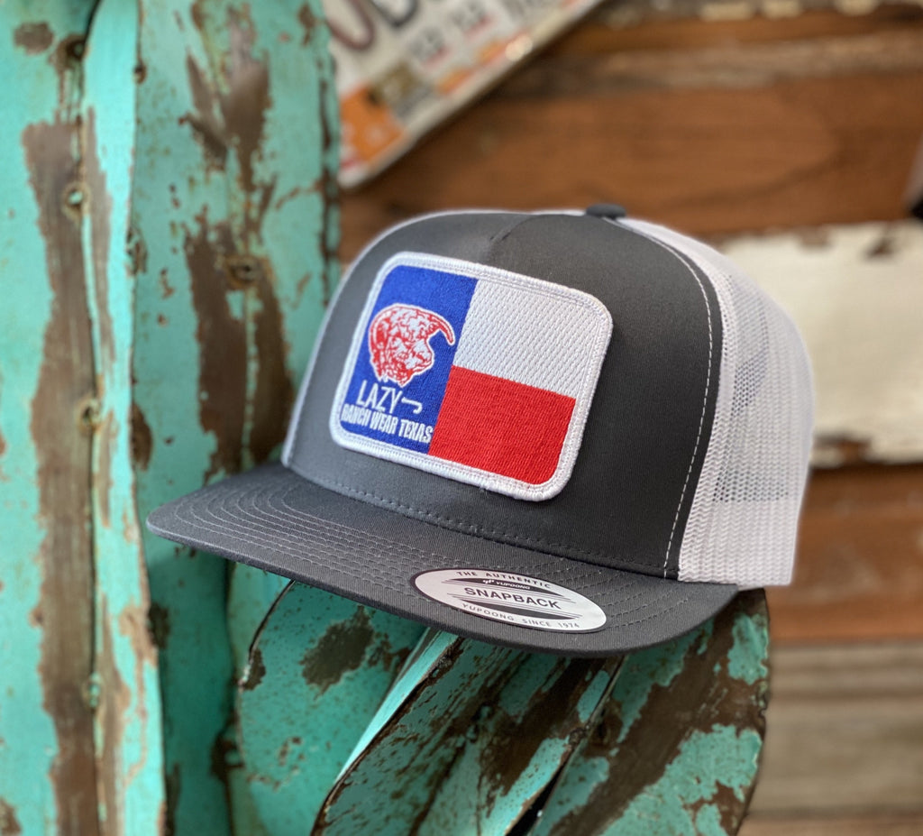 2020 Lazy J cap - Grey/White Texas patch - Jobes Hats