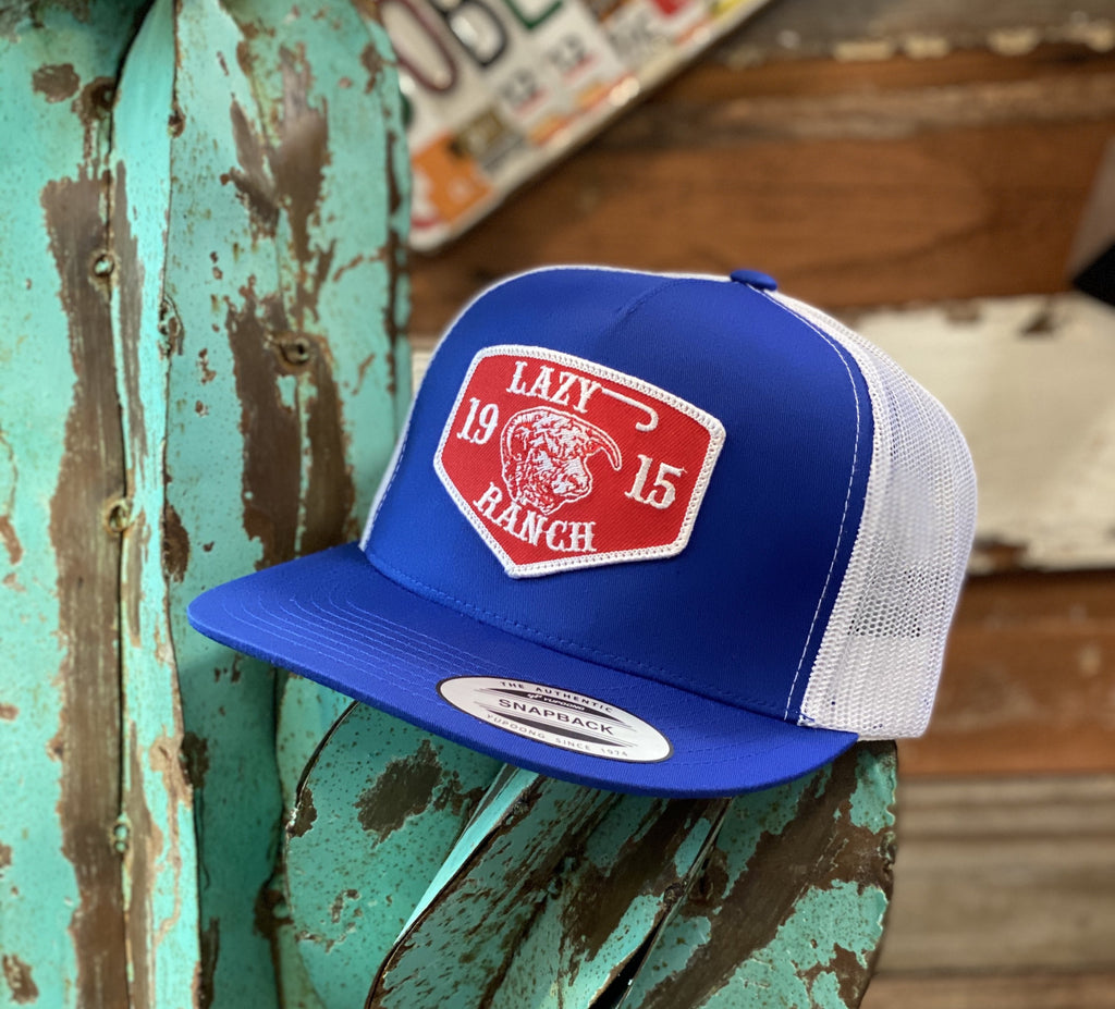 2020 Lazy J cap - Royal Blue/White 1915 Red Ranch patch - Jobes Hats