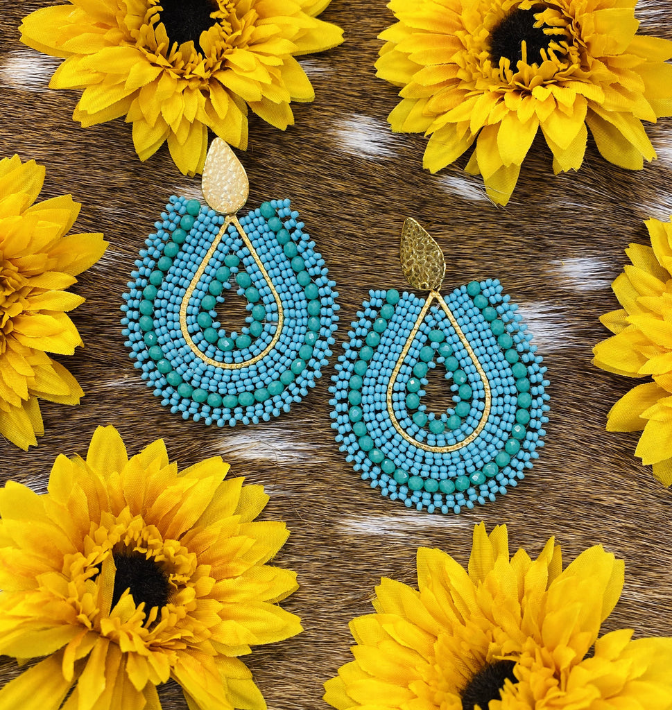 24K Beaded Collection- Colombian Handmade Earrings-Turquoise-JH Boutique-Jobes Hats