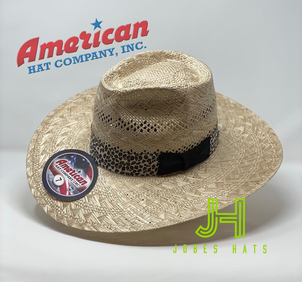 "American Hat Co. fashion #1804 4"" brim L/O leopard 9 line hatband - Jobes Hats"